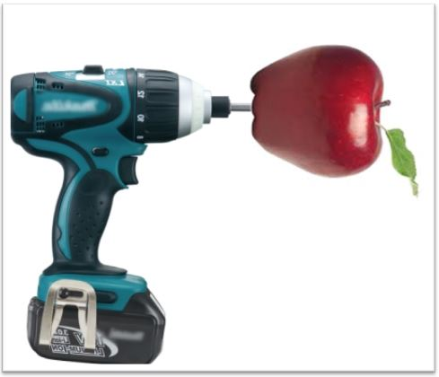 Tip for peeling apples faster with a drill